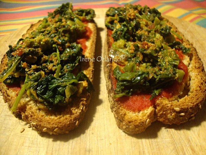 Maxi Bruschette di pane integrale con Cime di Rapa