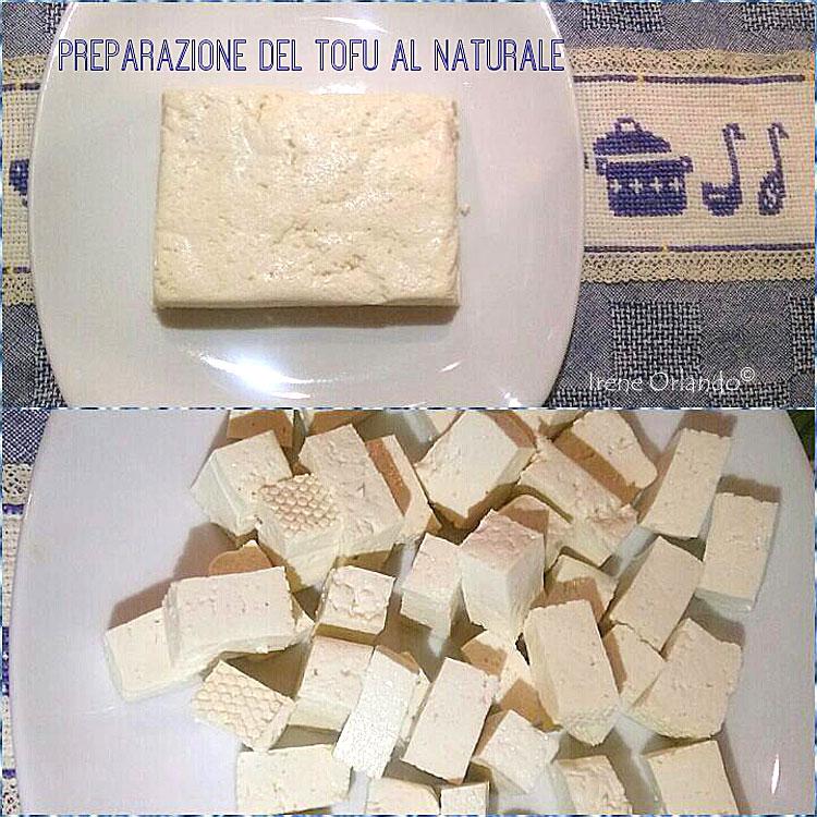 Ricetta del Tofu al naturale biologico, lasciato marinare con succo di limone e spezie e infine panato in padella