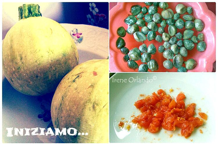 Ricetta dei Ravioli crudi di Zucchine Tonde con Crema di Mandorle e Capperi - Ingredienti