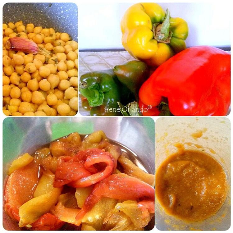 Ricetta dei Rigatoni con Ceci e Crema di Peperoni di tutti i colori - Materie prime e fasi di preparazione