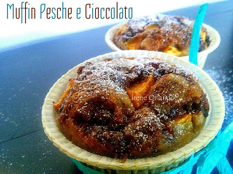 Ricetta dei Muffin pesche cioccolato fondente evidenza