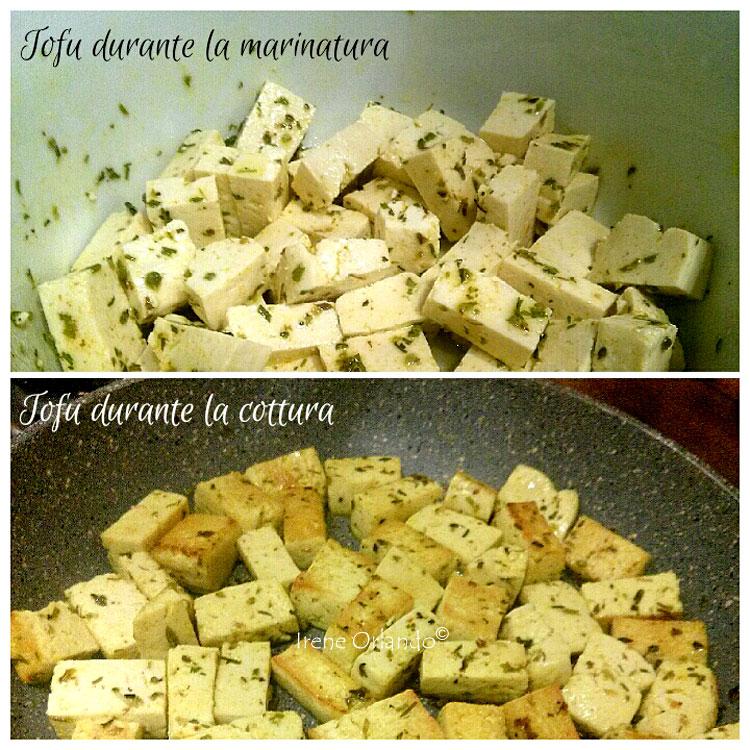 Ricetta del Tofu in Agrodolce durante la cottura in padella
