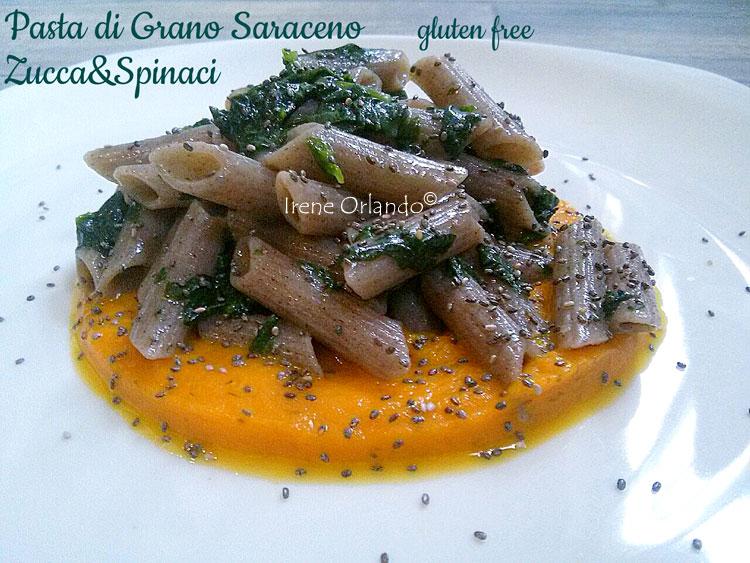 Ricetta della Pasta Grano Saraceno con Spinaci e Vellutata di Zucca