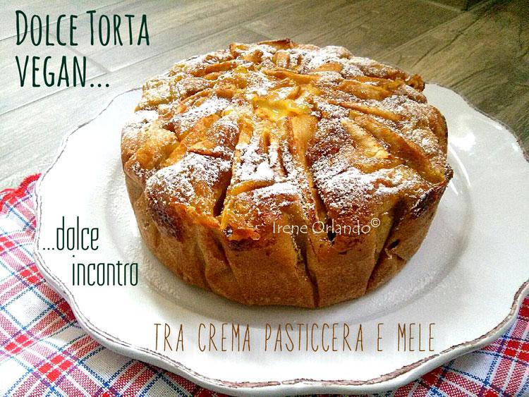 Ricetta della Torta soffice con Crema Gialla Vegan e Mele - Immagine in evidenza