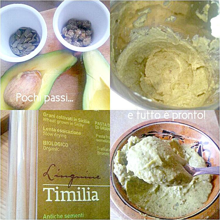 Ricetta del primo piatto di Linguine di Timilia con Avocado, Capperi di Pantelleria e Semi di Zucca