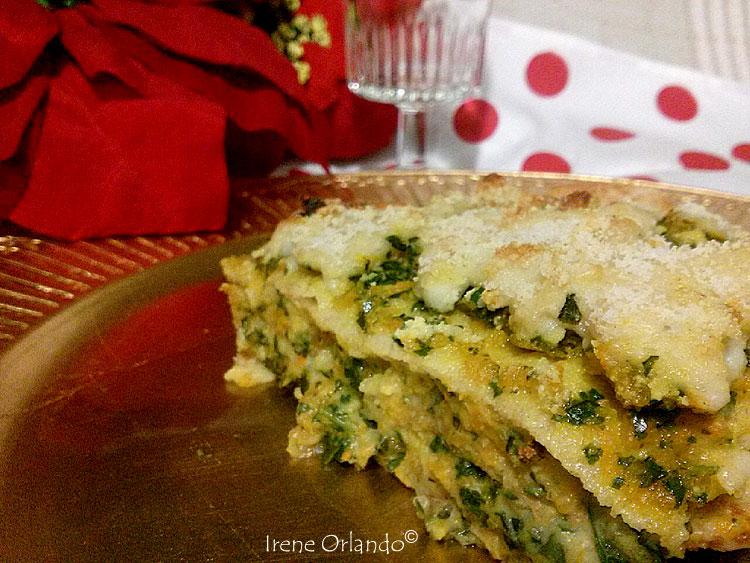 Ricetta delle Lasagne di Crepes di Farina di Farro con Zucca Rossa e Foglie di Cavolo - Ricetta di Natale