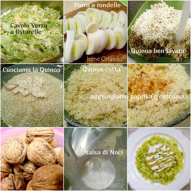 Ricetta della Quinoa con Cavolo Verza e Salsa di Noci - Ingredienti e procedimento